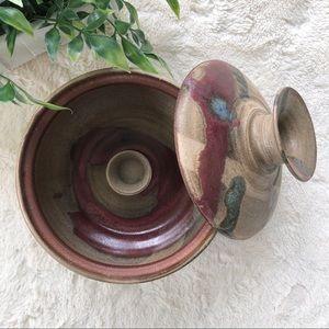 Pottery stoneware crock rice vegetable steamer